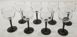 "I) Set of 8 Black Stem Wine Glasses 5-3/4"" Tall - $29.69"