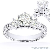 Round Cut Moissanite 14k White Gold 3 Three-Stone Antique Style Engageme... - £497.52 GBP+
