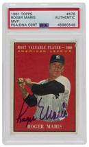 Roger Maris Signed 1961 Topps #478 New York Yankees MVP Card PSA/DNA - $1,385.99