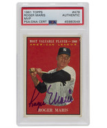 Roger Maris Signed 1961 Topps #478 New York Yankees MVP Baseball Card PS... - $1,520.95