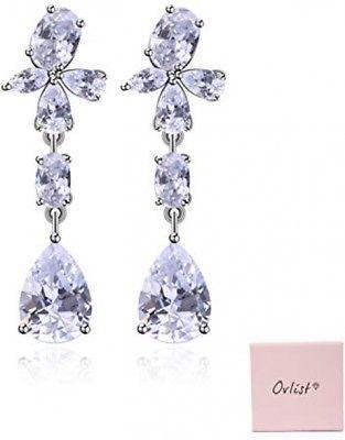 Gold Tone Tear Drop Bride Wedding Topaz Austrian Crystal Dangle Earrings