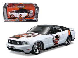2011 Ford Mustang GT White #1 Harley Davidson 1/24 Diecast Model Car by Maisto - $37.01