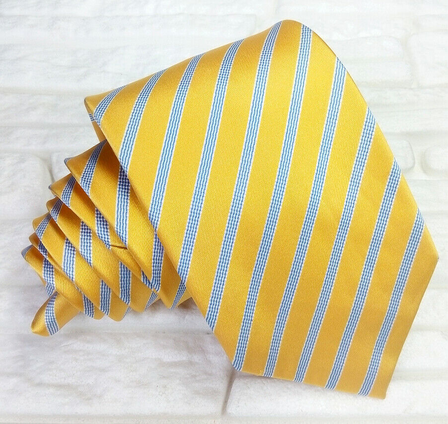 Primary image for Striped Necktie 100% silk Gold blue white DUSTIN ITALY wedding  business RRP £36