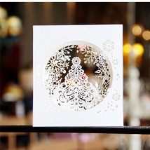 3D pop up paper laser cut cards Merry Christmas 3D Tree Boxes snowflake ... - $8.50