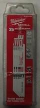 "Milwaukee 48-00-8186 6"" x 24 TPI Thin Kerf Sawzall Blades 25 Pack USA - $33.66"