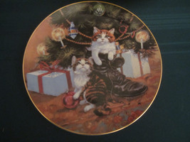 Country Christmas 1984 Collector Plate Lowell Davis Cats Tree Boot Rare Cat - $91.92