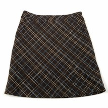 American Eagle AEO Plaid Skirt Size 2 Brown Lined Wool Blend Italian Fabric - $16.18