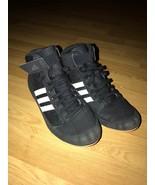 Adidas HVC 2 Youth / JR Wrestling Shoes AQ3327 - Black / White (NEW) Size 4 - $29.70