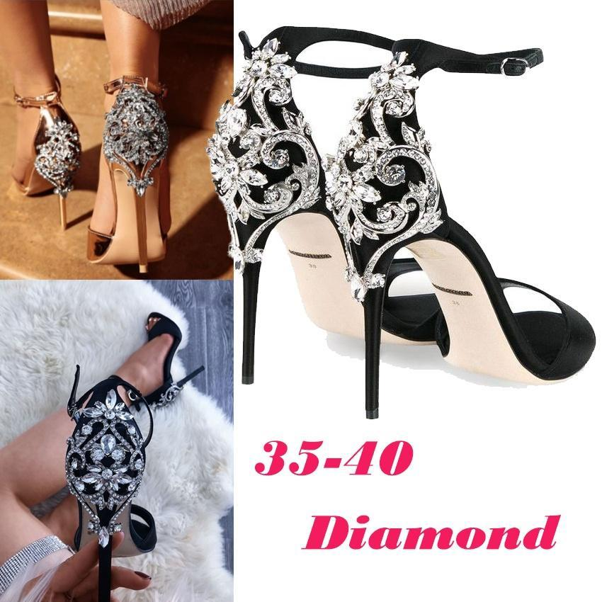 da93383be60753 2018 SUMMER Fashion Luxury Diamond High Heel Women s Sandals Party ...