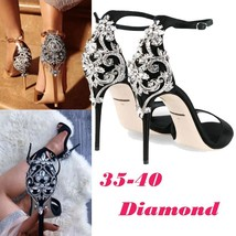 2018 SUMMER Fashion Luxury Diamond High Heel  Women's Sandals Party Wedding Heel
