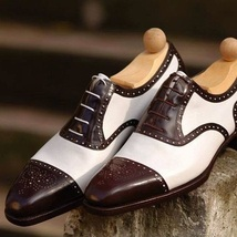 Handmade men fashion Two tone wingtip formal shoes, Men Brogue spectator shoes  - $159.99