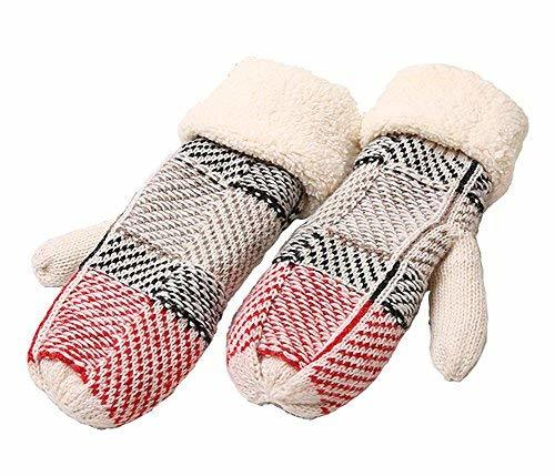 PANDA SUPERSTORE Fashion Knitting Wool Outdoor Warmer Gloves Soft Gloves, RED
