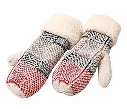 Panda Superstore Fashion Knitting Wool Outdoor Warmer Gloves Soft Gloves, Red - $17.63