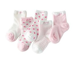 Five Pairs Summer Thin Section Mesh Cotton PINK Baby Socks