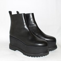 GIVENCHY Black Leather High Wedge Heel Ankle Boots Platform Round Toe Size US 9 - $499.39