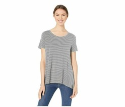 Essentials Women Patterned Short-Sleeve Scoopneck Swing Tee Mini Stripe ... - $15.88
