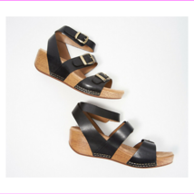 Dansko Leather Ankle Strap Wedges - Lou Black EU 36 - $83.89