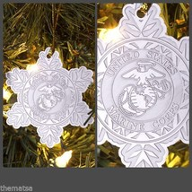 MARINE CORPS USMC EGA CHRISTMAS SNOWFLAKE HOLIDAY ORNAMENT  - $18.04