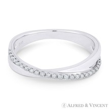 0.14ct Round Cut Diamond 14k White Gold Right-Hand Ladies Stackable Over... - $515.00