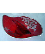 Flanders Ruby Red Divided Glass Candy Relish Dish w/ Silver Floral Inlay... - $19.50