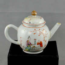 Chinese Porcelain Teapot decorated with Oriental Figures in a garden, 18... - $242.75