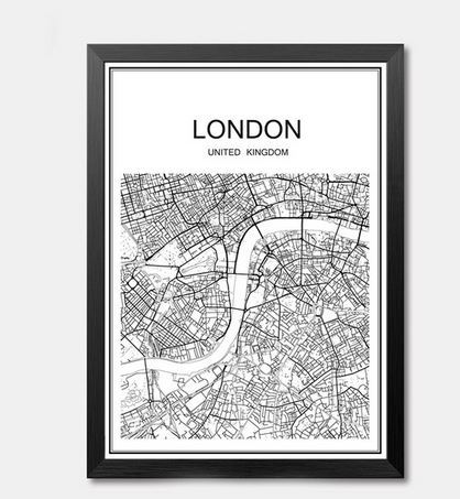 Primary image for Abstract City map poster vintage painting Kraft Poster Antique Wall Art Crafts S