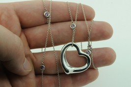 """TIFFANY & CO. Sterling Silver Pink Sapphire Color by The Yard Heart Pendant 33"""" - $1,185.00"""