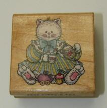 Kittys Tea Rubber Stamp Cat Wearing Dress Teapot Comotion Wood Mounted  - $5.93