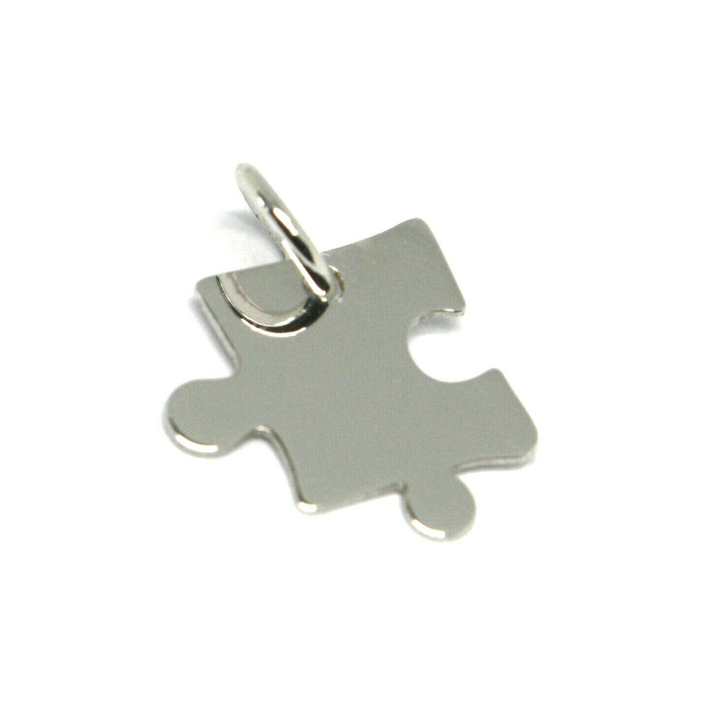 18K WHITE GOLD CHARM PENDANT, MINI PUZZLE PIECE, FLAT, MADE IN ITALY