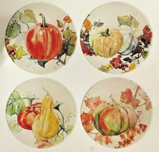 "Pumpkin Squash Appetizer Tidbit Melamine Plates 7"" set of 4 Thanksgiving... - $23.40"