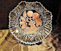 Cut Glass Plate with Detailed Etched Design Vintage Heavy AA18-11900 image 2