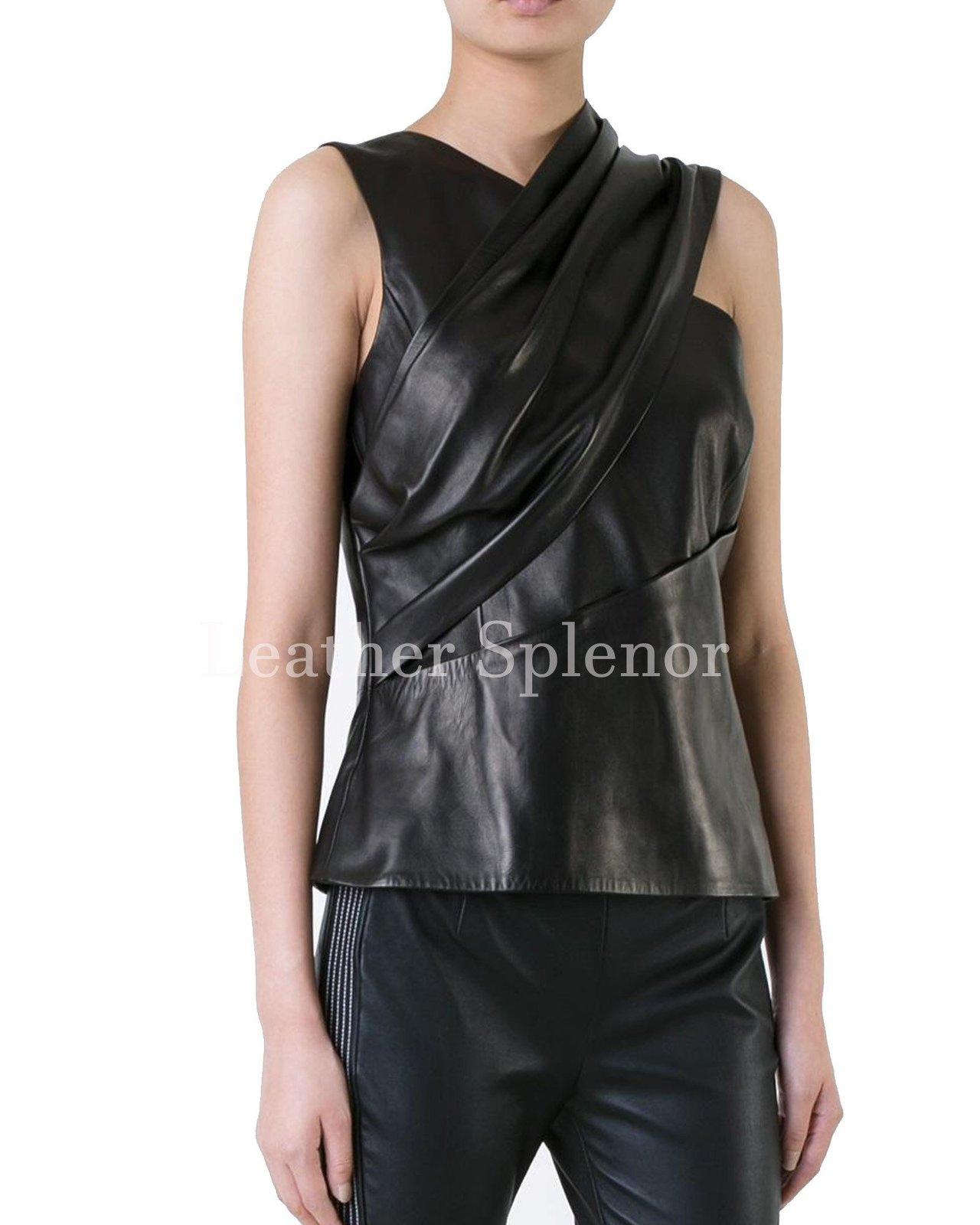 Sleeveless Trendy Women Leather Top