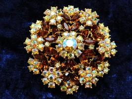 Vintage Crown Trifari Brooch Floral Circle w Green Blue AB Topaz Rhinest... - $62.90
