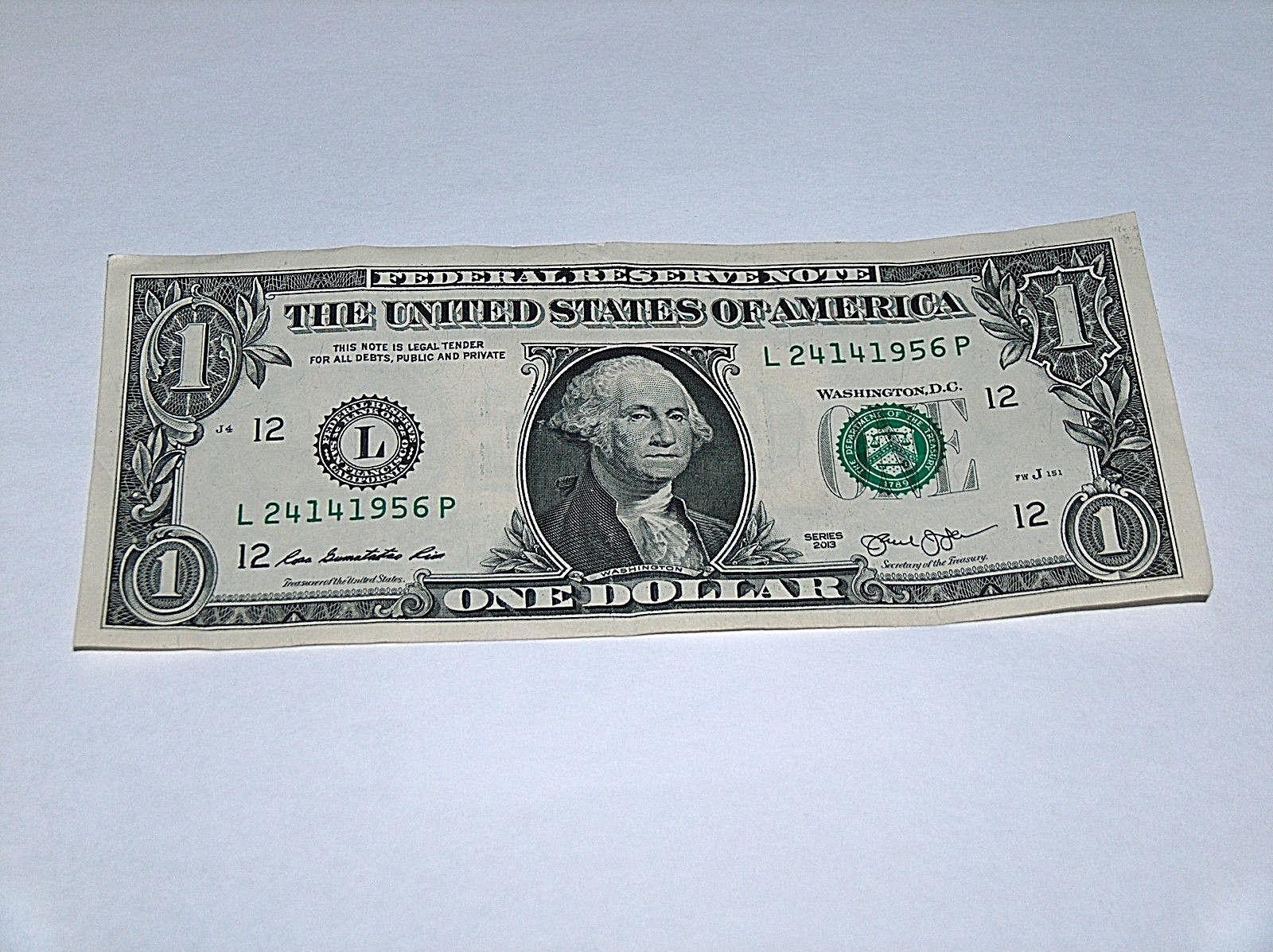 2013 $1 Dollar Bill US Bank Note Year Date Birthday 2414 1956 Fancy Money Serial