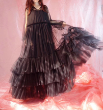 Women Black Maxi Dress Gown Long Sleeve Loose Tiered Tulle Party Dress Plus Size image 9