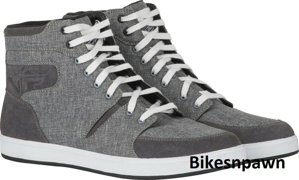 New Size 8 Mens FLY Racing M16 Grey Canvas Motorcycle Street Riding Shoe