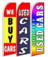 We Buy Used Cars  King Size  Swooper Flag Sign  W/Complete 3 Set  - $148.49