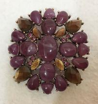 Brooch Pin Liz Claiborne LC Purple Cabochon Stones Rhinestones Copper Tone Metal - $14.84