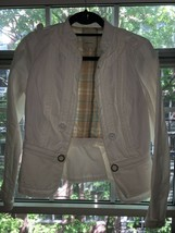 Anthropologie Elevenses Cropped Field Jacket Coat Ivory Cream White Size 6 - $24.99
