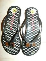Coach New York Landon Black Jelly Thong Flip Flops Sandals Bow size 5 - $25.69