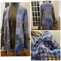 Talbots Pure Merino Wool Open Long Cardigan Size Large Houndstooth Paisl... - $19.79