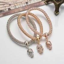 Terreau Kathy New Fashion Gold Color Crystal Skull Bracelet & Bangle 3 P... - $8.38