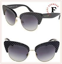 Dolce & Gabbana Pois Polka Dot 4277 Black Gold Cat Eye Sunglasses DG4277S Women - $197.01
