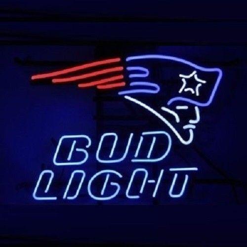 "Bud Light New England Patriots Super Bowl NFL Beer Neon Sign 24""x20"""