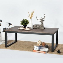 Rustic Wooden Coffee Table with Black Metal Frame Home Living Room Dark ... - $100.62