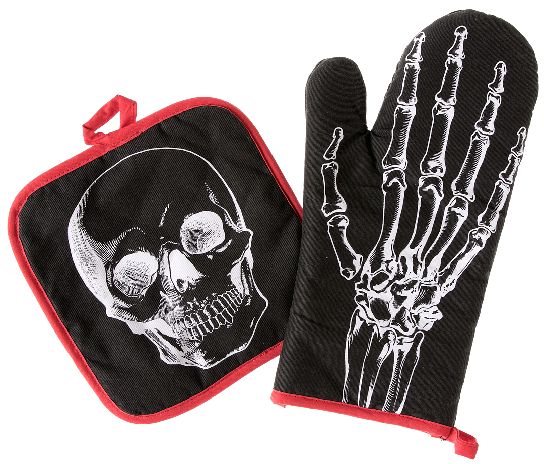 Sourpuss Anatomico Scheletro Teschio Halloween Punk Gotico Guanto da Forno Set