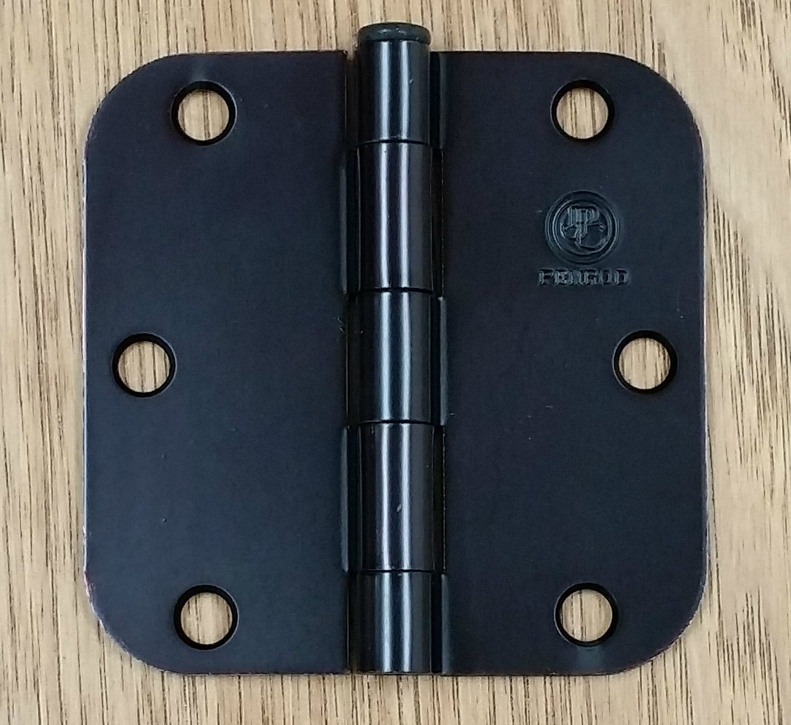 "Matte Black Residential Door Hinges - Penrod - 3.5"" with 5/8"" radius - 2 Pack - $10.84"