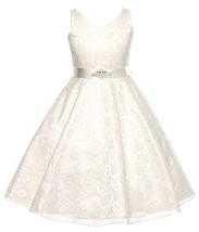 Flower Girl Dress V-Neck Lace Rhinestone Brooch Ivory GG 3511 - $34.64+