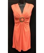 Unique! Cache (Sz 4) Orange Sleeveless Wood Center Buckle Draping Womens... - $36.10