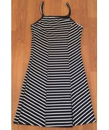 Love Chesley Dress Size Medium Striped Blue White Nautical Front Slit - $16.73